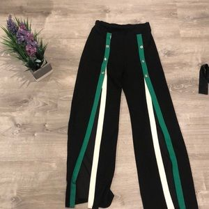 Green and black Pants with Slits